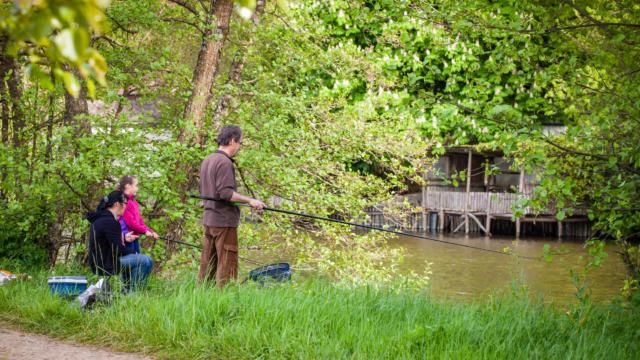Pêche à la ligne en famille sur le Loir près de La Chartre